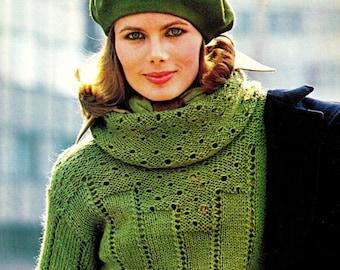 "Vintage 70's Knit Eyelet ""COWL"" Sweater / PULLOVER - PDF Pattern - Digital Pattern"