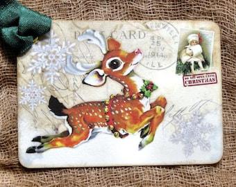 Reindeer Christmas Postcard Gift or Scrapbook Tags or Magnet #554