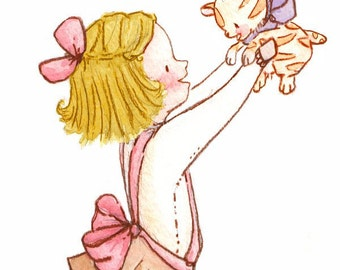 Children Art. Kitty Girl-BLONDE. PRINT 8X10. Nursery Art Home Decor