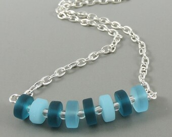 Faux Sea Glass Necklace, Blue Teal Necklace, Frosted Glass Jewelry, Summer Necklace, Beach Jewelry, Stocking Stuffer