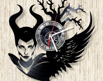 Maleficent vinyl record wall clock unique home decor and wonderful gift idea