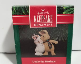 Vintage New in Box Hallmark Keepsake Ornament Under the Mistletoe 1991