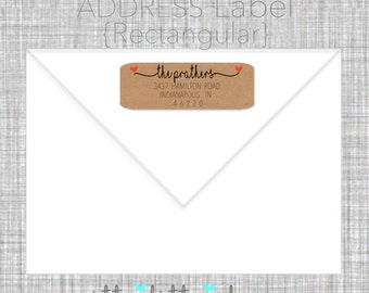Return address label - custom- 2 5/8 x 1 inch rectangular, brown kraft or white label, sticker, wedding announcements - SET OF 30