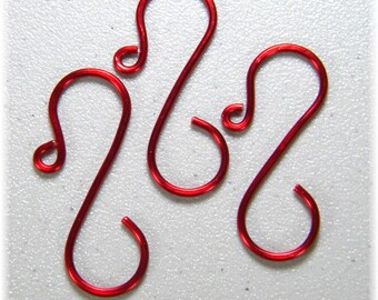 "Mid-size Red (1 1/2"") Ornament Hooks, Set of 12"