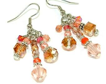 Nouveau prix inférieur - printemps pêche & corail de couleur cristal pompon déclaration boucles d'oreilles