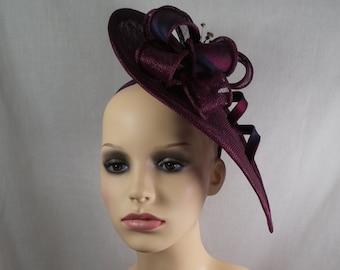 Plum hatinator with silk tartan trim. Wedding hat-races hat-Special occasion hat.