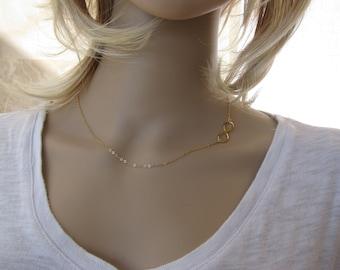 Infinity necklace, gold infinity, sideways gold necklace, eternity necklace, everyday jewelry, infinity charm, simple handmade jewelry