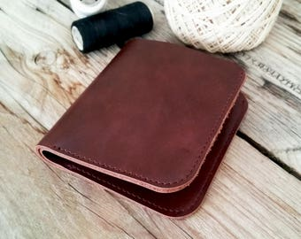 Brown mens wallet, athentic leather wallet, bifold wallet, simple wallet, small wallet, minimaliste wallet, card holder wallet, slim wallet