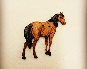 Horse Wood button for patchwork and crafts