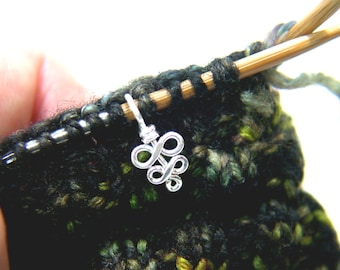 Sterling Silver Knitting Stitch Marker - Elegant Swirls - Sized and Made to Order - US3 to US11