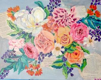 Mixed Media Florals on Canvas
