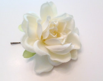 White Gardenia  Bridal Flower Hair Pin Wedding Hair Accessory Hair Pin Bridal Hair Pin White Gardenia Prom  Hair Pin - Ready  to Ship!