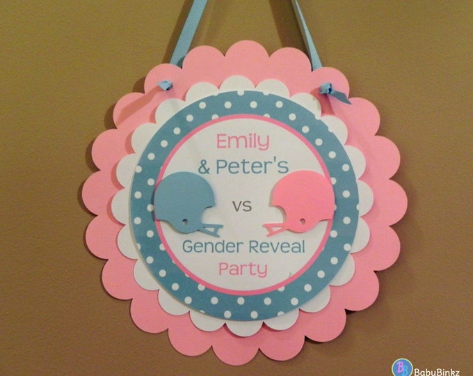 Door Sign: Gender Reveal Party - Team Blue versus Team Pink Football Game Party Decorations die cut football helmet blue pink