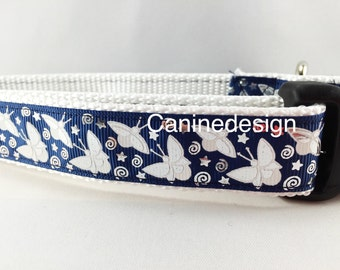 Dog Collar, Fireflies, Glow in the Dark, 1 inch wide, adjustable, quick release, metal buckle, chain, martingale, hybrid, nylon
