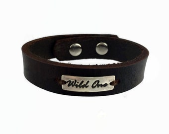 Sterling Silver Leather Bracelet - Wild One - Leather Cuff - Leather Wristband - Sterling Silver Cuff - Brown Leather Cuff - Black Leather