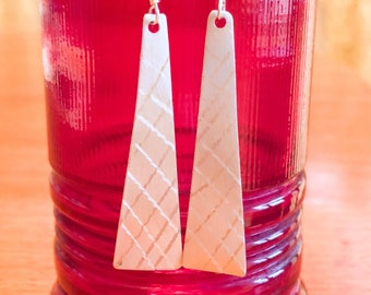 Chic etched silver triangular earrings fun for day or night!