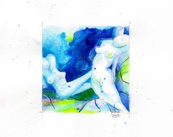 Blue nude 08-nude-Watercolour-drawing-Aktgemälde-nude art-nude painting-Unique