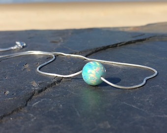 Green Fire Opal Ball Necklace set on 925 Sterling Silver