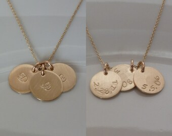 "Date on Back - Birthdate -  Three 3 Discs - Gold Disc Necklace - 1/2"" 12.6mm  - Double Disc Gold-filled- Initial - Mother's - Double Sided"