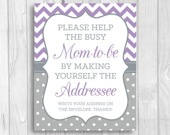 Printable Help the Busy Mom-to-Be 5x7, 8x10 Write Your Address Baby Shower Sign - Lavender and Gray Chevron Polka Dots - Instant Download