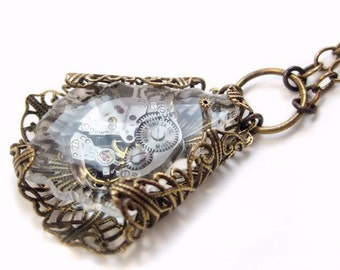 Frozen in Time Steampunk necklace  steampunk jewelry statement necklace filigree jewelry steampunk pendant necklace watch fantasy jewelry