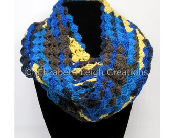 Shell Stitch Infinity Scarf, Stripes, 5 inches x 60 inches, 7 colors available