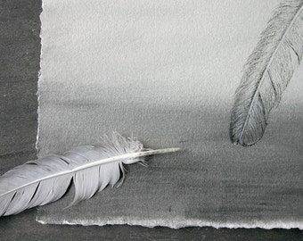 Grey Feather Ombre Drawing- Original Mixed Media- Fine Art- 6x9- Slate Grey White Watercolor- Monochrome Painting- Vertical