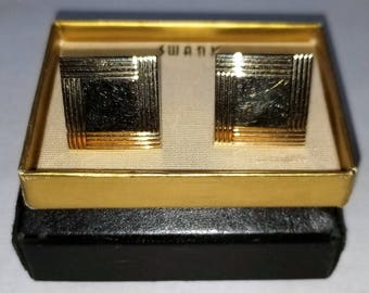 Swank Gold-Tone Square Cuff Links - Vintage