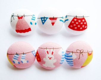 Sewing Buttons / Fabric Buttons - 6 Small Fabric Buttons Set - Sweet Laundry on White and Pink