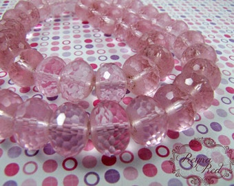 Pale Pink Faceted Glass Rondelles, Bridal, Spring, easter, pastels, jewelry supplies, beading, beads, candy pink, supply - reynaredsupplies