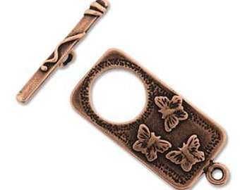 Antique Copper Butterfly Toggle Clasp Set, Bracelet & Necklace Clasp, Components, Findings, DIY Jewelry, Bead Supply