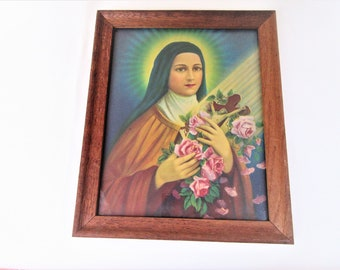 Vintage St Therese Print | St Therese of Lisieux | Religious Print | Wood Frame | The Little Flower | Framed Christian Art