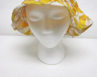 Yellow White Bucket Hat Rustic Cloche