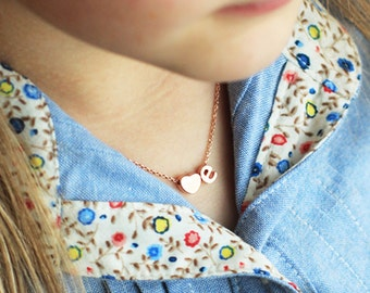 Children's Initial + Heart Necklace - Lowercase Gold Silver Rose Gold Childrens Flower Girl Necklace Personalized Flower Girl Valentine Gift