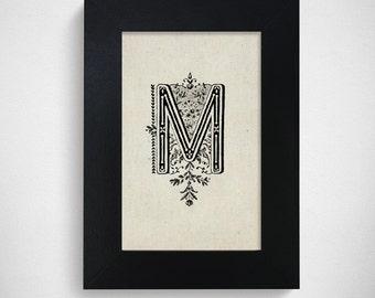 "Hand Drawn Original Monogram Letter M / 4x6"" / Made-to-Order"
