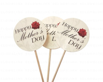 10 Happy Mother's Day  Cupcake Toppers, Food Picks, Toothpicks, Party Picks - party supplies - No1062