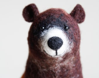Felt  Bear - Grisha. Art Toy,  Puppet Grizzly bear kids gift Marionette  Woodland plush Stuffed  Animal Felted Toys animals. brown, green.