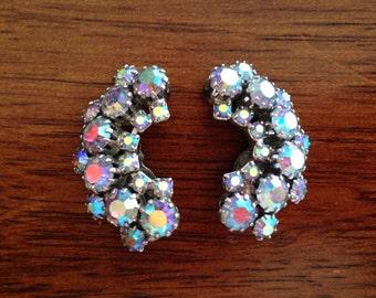 Weiss Blue Aurora Borealis Rhinestone Crescent Earrings 0347