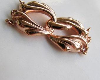 Rose gold vermeil clasp silver multi strand 3 row 35x17 s hook and eye Bali balinese designer clasp 925, sea wave nature EU UK Europe