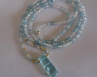 SALE Aquamarine Necklace Aquamarine Pendant Long Necklace Aquamarine Slice Modern Necklace Raw Aquamarine Unique Necklace Designer 30 inch