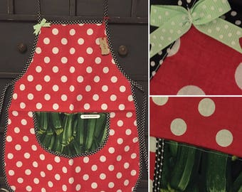 Cooking apron child red peas and carrots