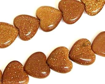 16 Inch Goldstone 10mm Flat Heart Beads