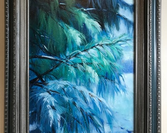 Original Painting, Oil on Canvas, Landscape, Pine Trees, Realistic, Nature, Medium Sized, 12x16, Framed