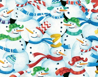 Snow Fun Snowman White Christmas / Holiday Red Rooster #6023 By the Yard