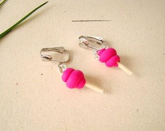 Pink earrings - clip on earrings cotton candy polymer clay kids - clip earrings