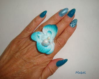 Flower Orchid turquoise, mother of Pearl, adjustable Pearl ring, wedding