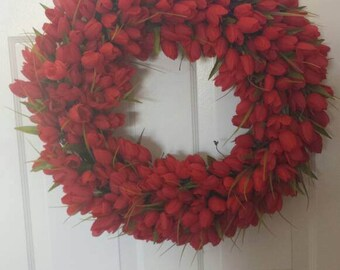 23' Red Tulip wreath / spring wreath / summer wreath / front door wreath / holiday wreath / door wreath / Easter wreath