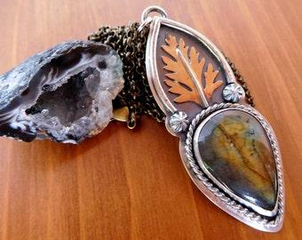 Labradorite leaf necklace | Nature jewelry | fall leaf pendant | sterling silver labradorite | amber labradorite | woodland necklace