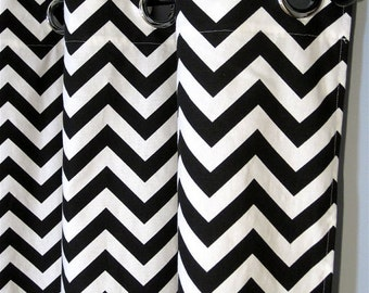 "84"" Black and White Chevron Curtains with Grommets - Two  Curtain Panels - 50""x84"" - FREE SHIPPING"