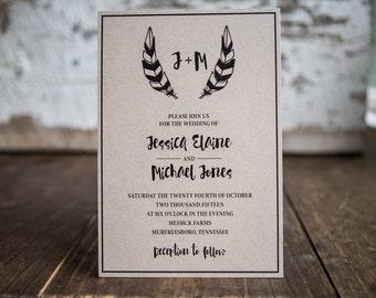 Feather Wedding Invitation, Folk Wedding Invitation, Indie Wedding Invitation- Feather Folk Wedding Suite : A7 Wedding Invitations